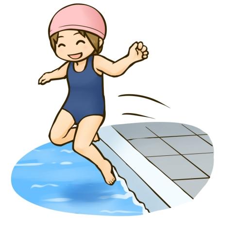 プールに飛び込む女の子のイラスト 無料イラストのimt 商用ok加工ok