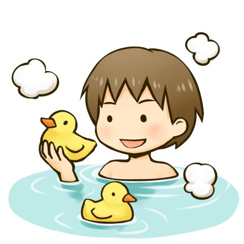 お風呂にアヒルのおもちゃを浮かべる男の子のイラスト 無料イラストの