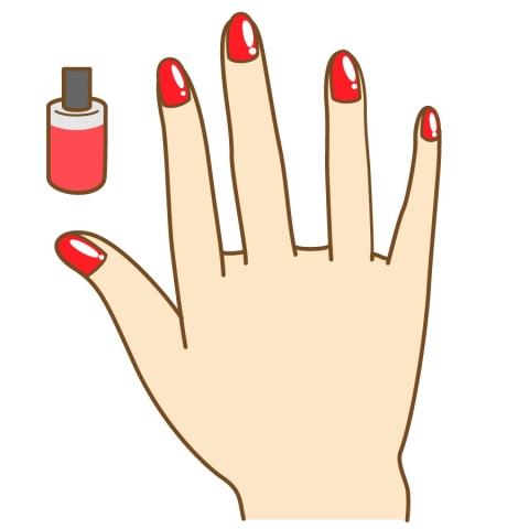 真っ赤なジェルネイルをした爪のイラスト , 無料イラストのIMT