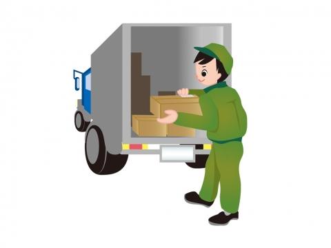 宅配便配達員とトラックのイラスト