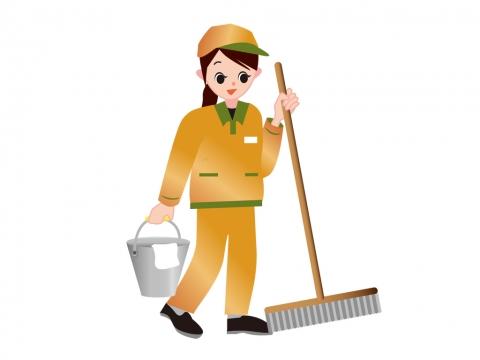 清掃作業員が掃除道具を運ぶイラスト 無料イラストのimt 商用ok加工ok