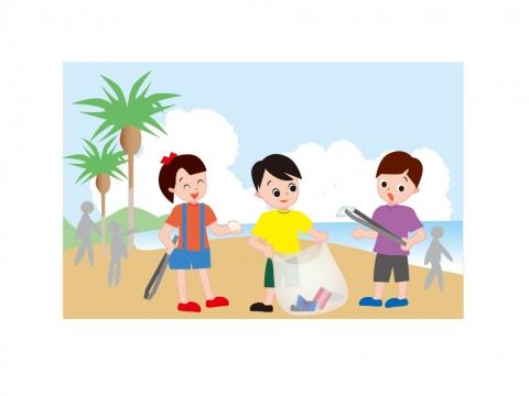 海岸清掃する子どもたちのイラスト 無料イラストのimt 商用ok加工ok