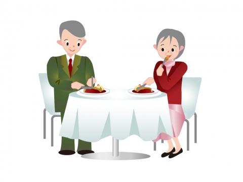 老夫婦がレストランで食事しているイラスト 無料イラストのimt 商用ok