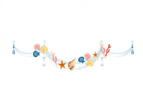 貝とヒトデと珊瑚の装飾イラスト 無料イラストのimt 商用ok加工ok