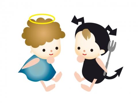 悪魔と天使が並んだイラスト 無料イラストのimt 商用ok加工ok