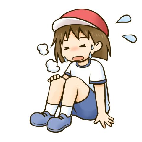 疲れて座り込む運動着姿の女の子のイラスト 無料イラストのimt 商用ok
