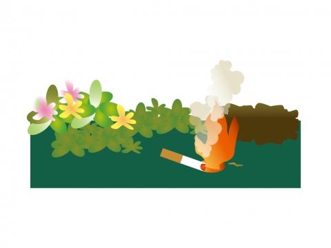 タバコのポイ捨てが火事の火種になるイラスト 無料イラストのimt 商用