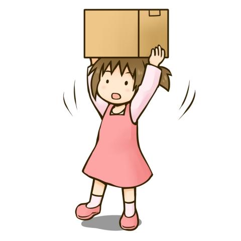 頭の上で段ボール箱を持つ女の子のイラスト