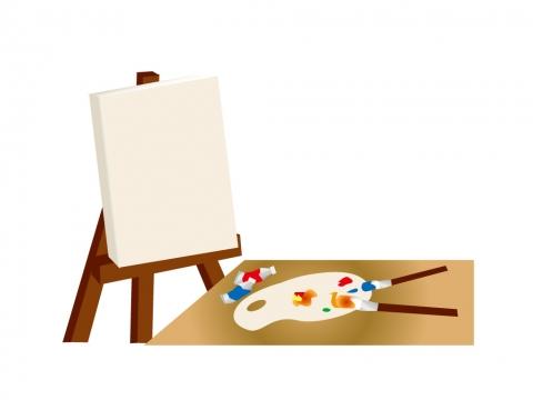 キャンバスと絵の具のイラスト 無料イラストのimt 商用ok加工ok